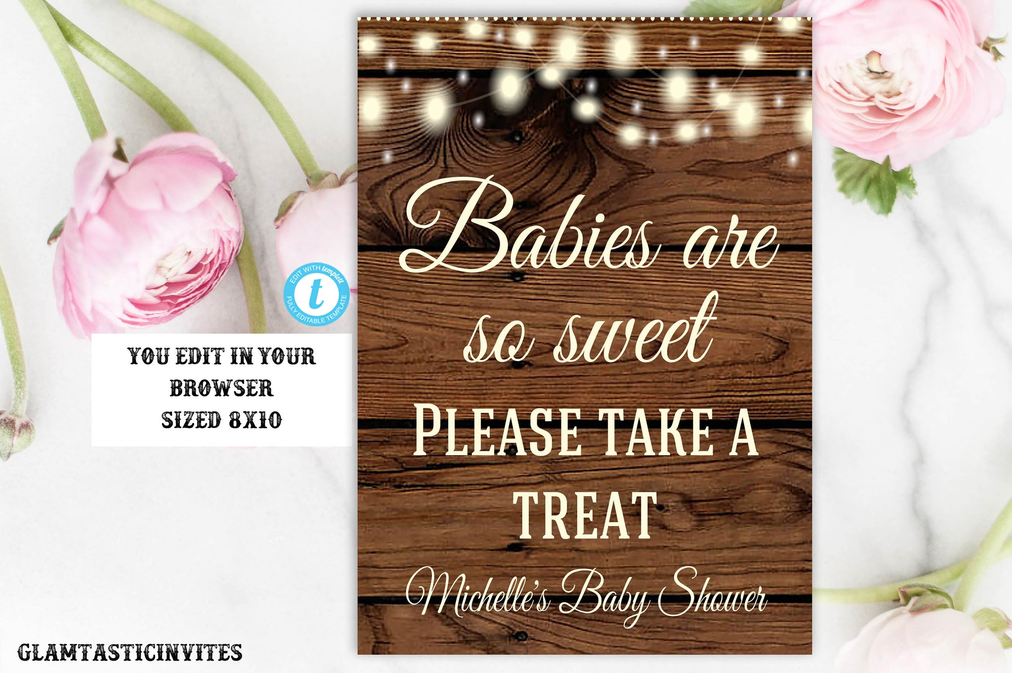 Rustic Baby Shower Sign Template, Baby Shower Favors Sign, Babies are Sweet Take a Treat Sign, Editable Baby Shower Sign, Instant Download
