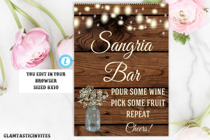 Sangria Bar Sign Template, Bar Sign, Rustic Wedding Sign, Printable Sign, Editable,Rustic Wedding, Sangria Sign, Template,Rustic Sangria Bar