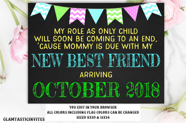 Pregnancy Reveal Template, Only Child Expiring, Pregnancy Announcement, Big Sibling, My New Best Friend, Photo Prop,Chalkboard, Instant, DIY