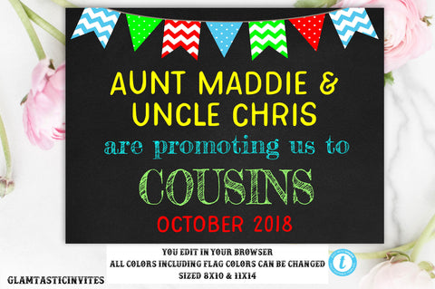 Pregnancy Announcement, Getting us a cousin pregnancy sign, Pregnancy Sign, Chalkboard Pregnancy Sign, Baby Reveal, Photo prop, DIGITAL SIGN