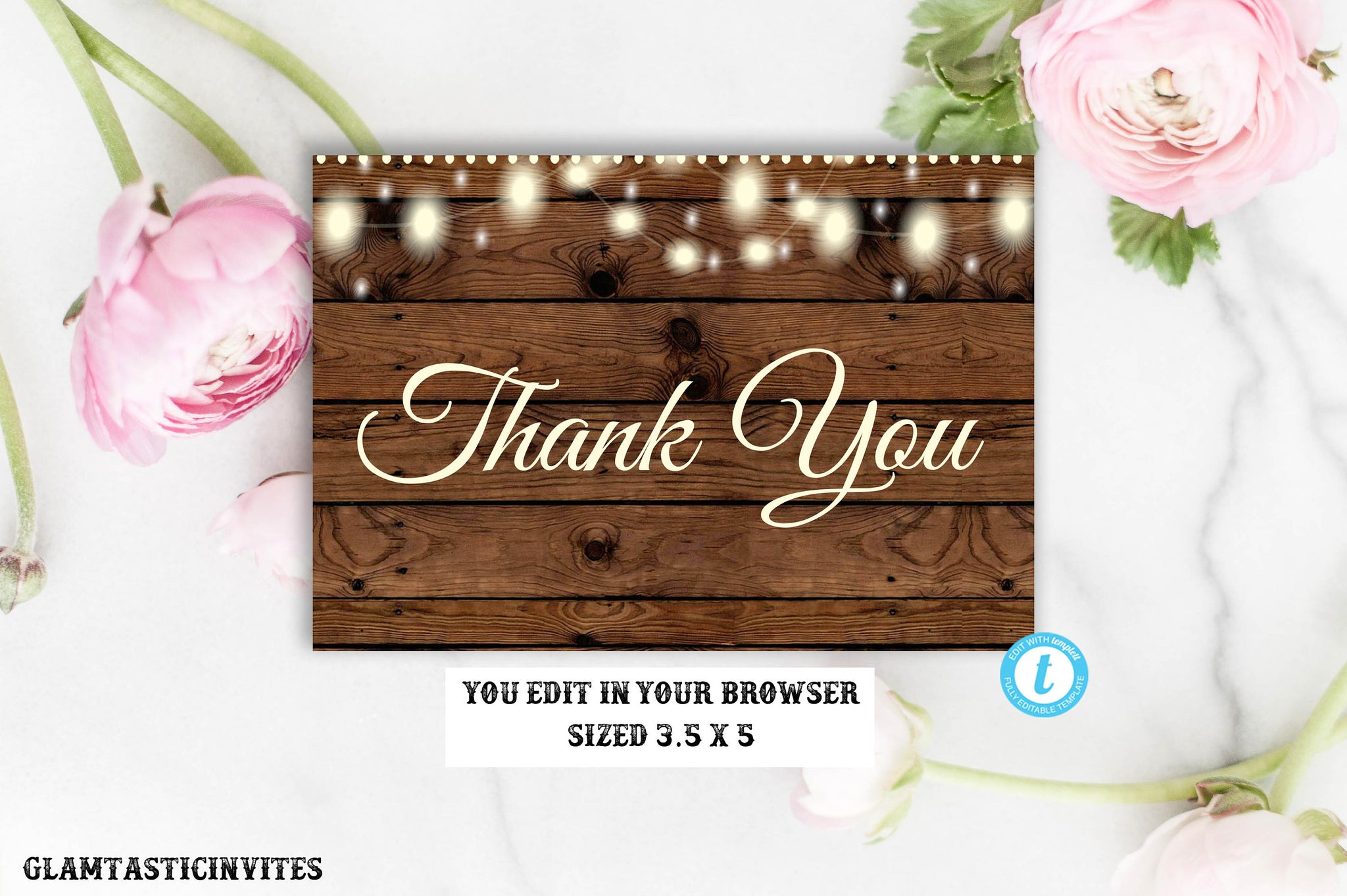 Rustic Thank You Card Template Barn Wood Wedding Thank You Cards