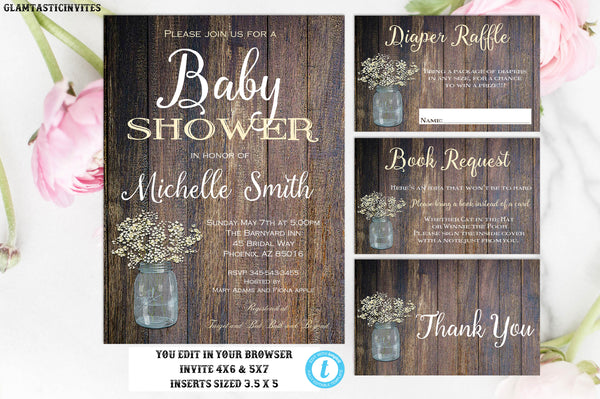 Rustic Gender Neutral Editable Instant Download Printable Country Mason Jar Babies Breath Baby Shower Invitation Package Inserts Template
