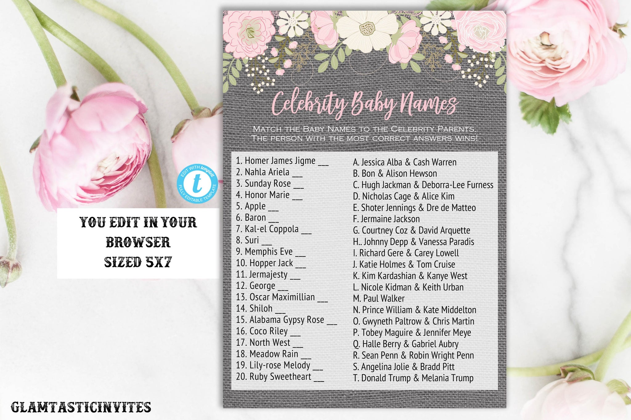 Celebrity Baby Name Template, Floral Celebrity Baby Name Quiz, Baby Shower Game, Baby Shower Activity, Rustic Baby Shower, Instant Download
