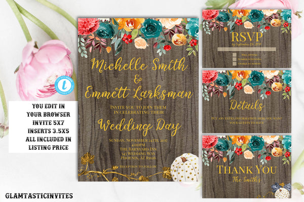 Rustic Fall Wedding Invitation, Rustic Wedding Template, Wedding Template, Fall Wedding Template, You Edit, wedding invitation suite, DIY