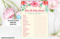 Floral Baby Animal Game Template, Rustic Baby Shower Game, Baby Animal Game, Floral Baby Shower Game, Instant Download, Editable, Printable