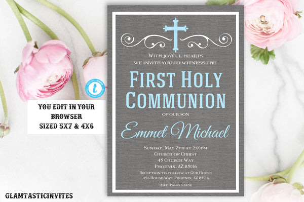First Communion Invitation Boy, Boy First Communion Invitation, First Communion Invitation Printable, You Edit, DIY, Edit, INSTANT DOWNLOAD