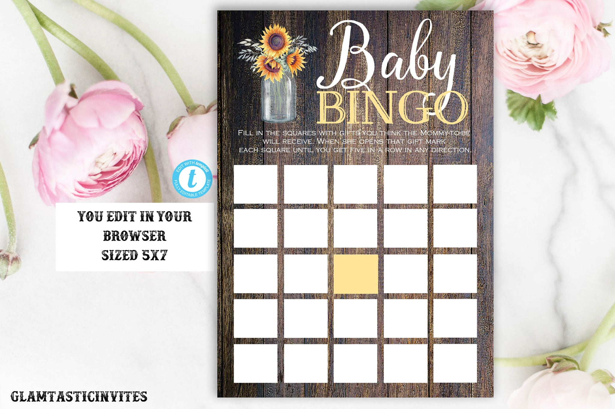 Sunflower Rustic Country Vintage Western Baby BINGO Template, Instant Download, Editable, Printable, Baby Shower Bingo, BINGO Template, DIY