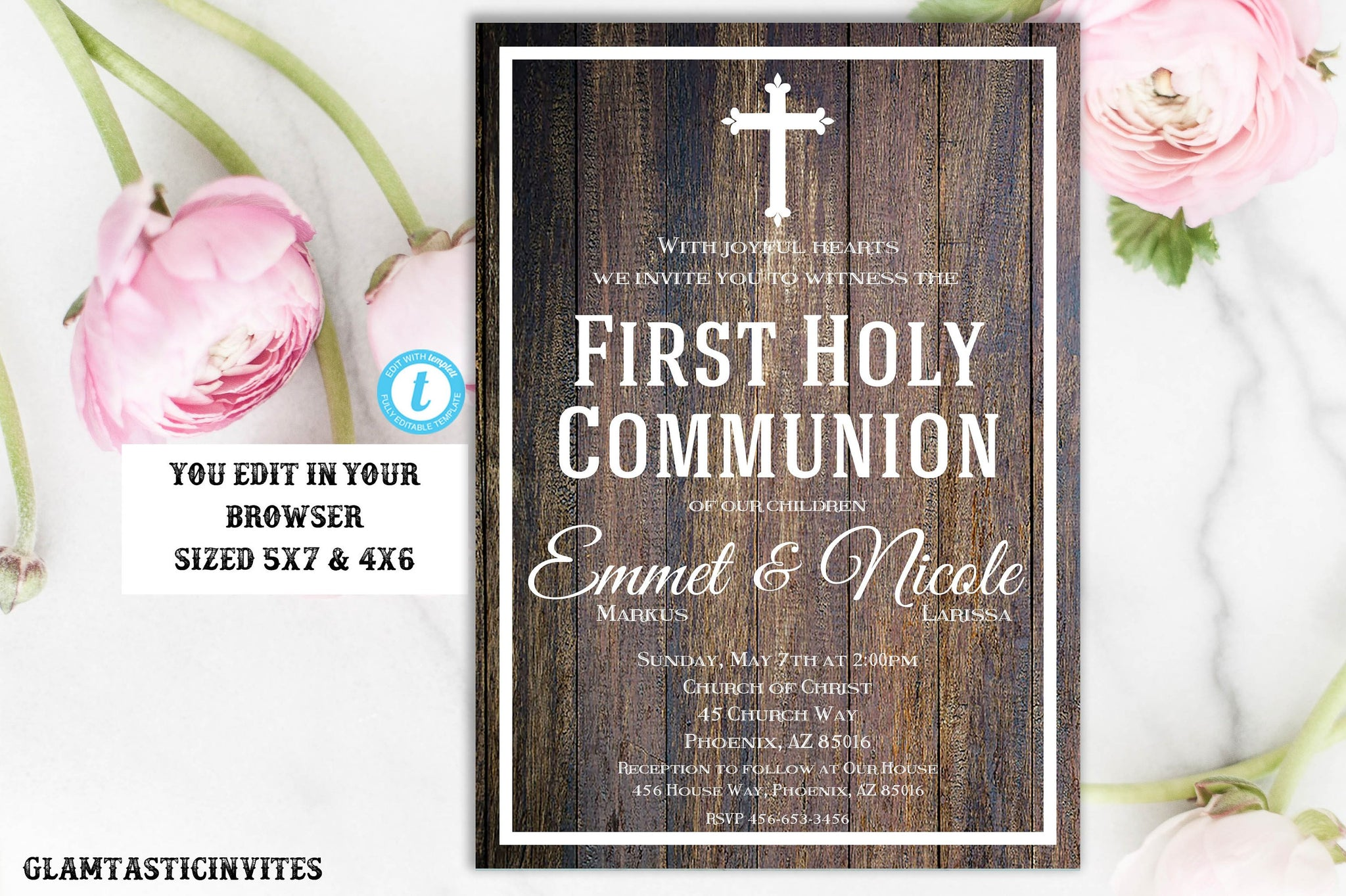 First Communion Invitation Sibling, First Communion Invitation, Twin Sibling First Communion Invitation,You Edit, DIY, Edit,INSTANT DOWNLOAD