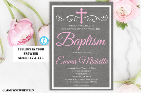Baptism Invitation Girl Invitation Template, Instant Download, Girl Baptism Invitation, Printable Baptism Invitation, Invite Girl, Editable