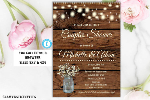 Rustic Couples Shower Invitation Template, Editbale, Mason Jar invitation, Flower Invitation, Couples Shower Invitation, Shower Template