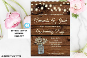 Rustic Wedding Invitation Template, Country Wedding Invitation, Instant Download, Editable, DIY Wedding Invitation, Instant Download, Rustic