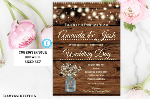 Rustic Wedding Invitation Template Country Instant Download Editable DIY