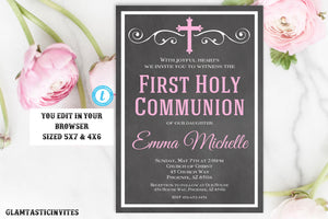 Girl First Communion Invitation Template Editable Printable Chalkboard Religious Dedication Baptism Christening Pink Sibling DIY Invite