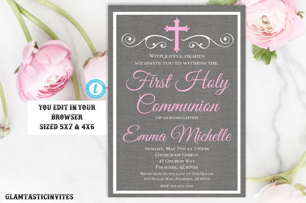 Girl First Communion Invitation Template, Girl First Communion Invite, First Communion Template, First Communion, Editable, Instant Download