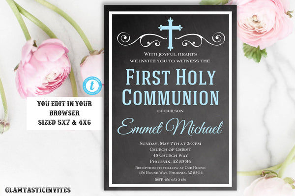 image about Printable First Communion Invitation identified as To start with Communion Invitation Boy Template, Initial Communion Invitation, Very first Communion Invitation Printable,Very first Communion, Template,By yourself Edit