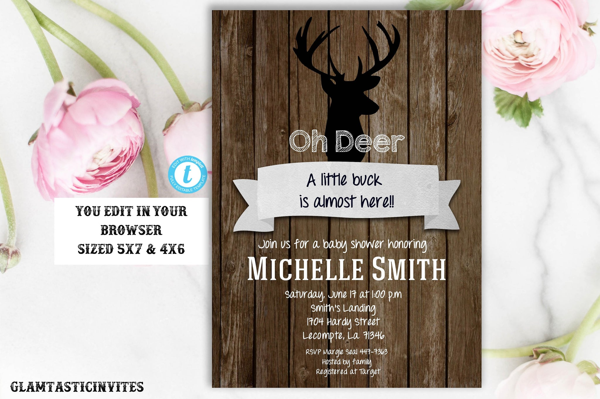 Oh Deer Baby Shower Invitation Template, Deer Baby Shower Invitation, Rustic Baby Shower Invitation, Boy Baby Shower, Edit, INSTANT DOWNLOAD