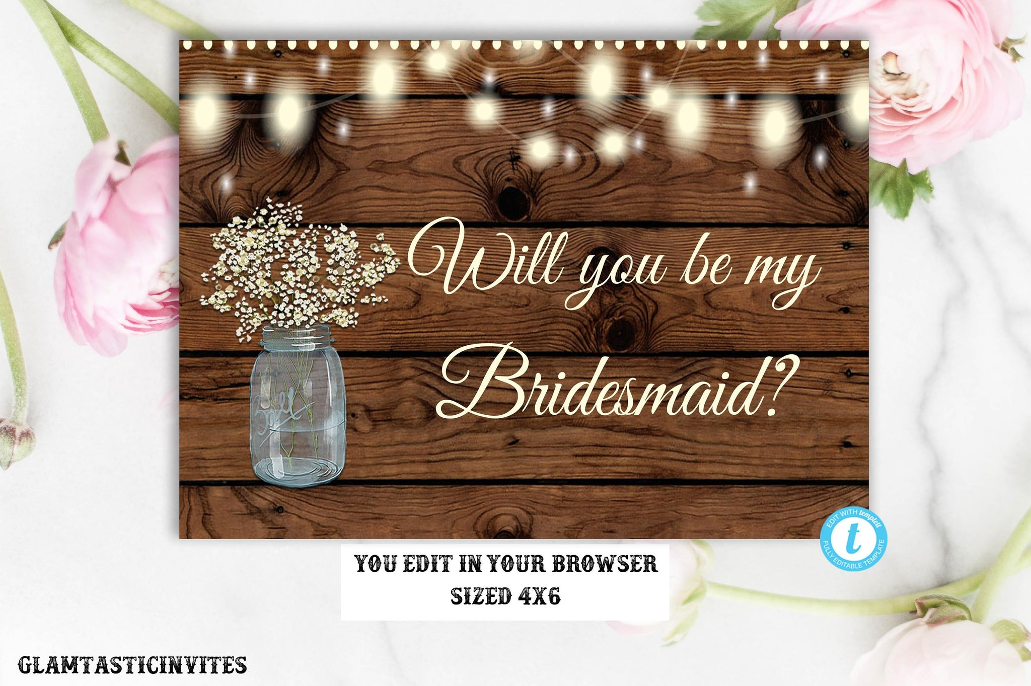 Will You Be My Bridesmaid Template Card Rustic Wedding Rustic Will