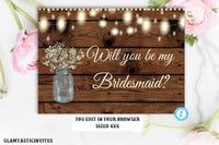 Will you be my Bridesmaid Template Card, Rustic Wedding, Rustic Will you be my Bridesmaid card, Bridesmaid proposal, Editable, Printable,DIY