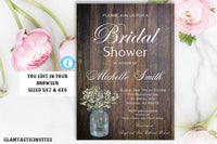 Bridal Shower Invitation Template, Rustic Bridal Shower Invite, Instant Download, Wedding Shower Invitation Printable, Rustic, Mason Jar