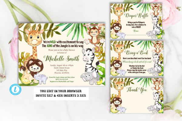 Jungle Baby Shower Invitation Package, Baby Shower Invitation, Baby Shower Template, Giraffe, Elephant, Monkey, Safari, Jungle, You Edit