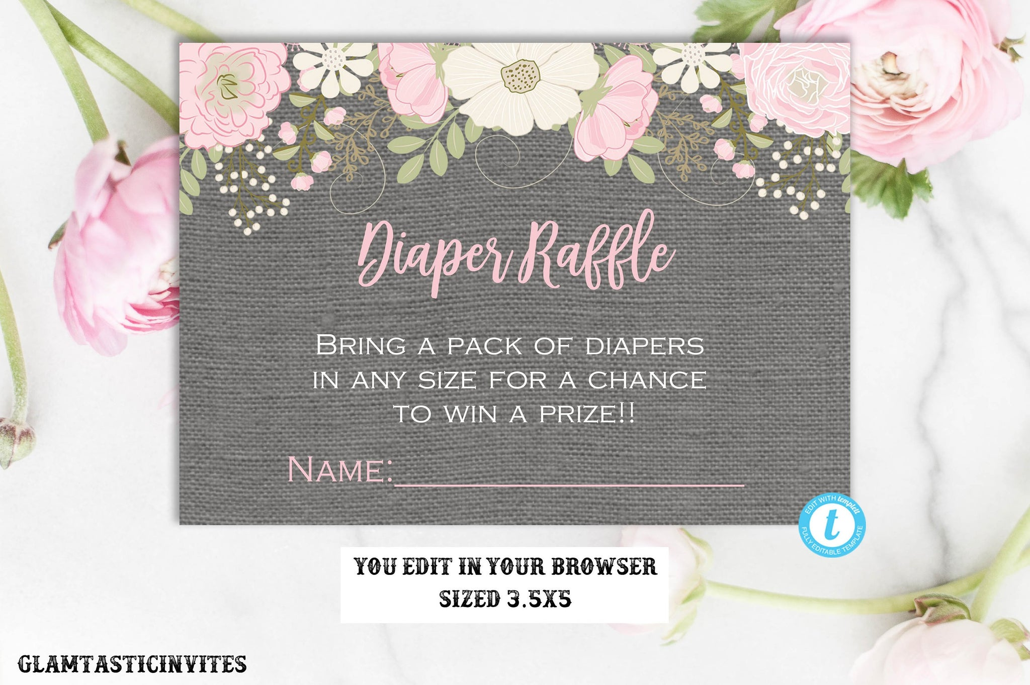 Floral Diaper Raffle Card Template, Baby Shower Insert, Bring Diapers in Any Size, Baby Shower Game, Editable, Rustic, Template, DIY, Print