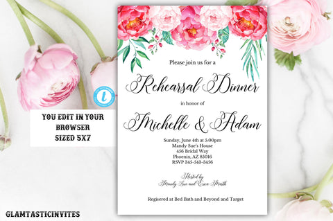 Rehearsal Dinner Invitation Template, YOU EDIT, Floral Rehearsal Dinner Invitation, Instant Download, Editable, Editable Rehearsal Invite