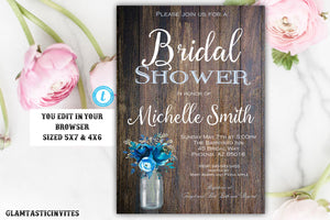 Rustic Bridal Shower Invitation, Rustic Invitation, Blue Shower invitation, Flower Invitation, Bridal Shower Invite, Bridal Shower Template