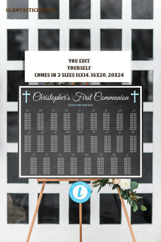 Communion Seating Chart Template, Baptism Seating Chart, Communion Seating Chart, Religious Seating Chart, Instant Download, Editable,DIY