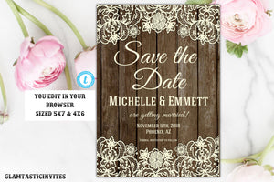 Rustic Save-The-Dates, Printable Rustic Save the Date Template, Save the Date, Rustic Wedding, Lace, Printable Save the Date Template, DIY