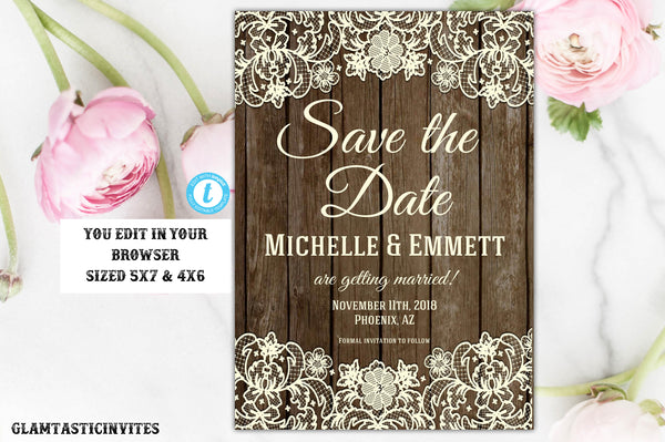 image about Printable Save the Date identified as Rustic Help you save-The-Dates, Printable Rustic Preserve the Day Template, Preserve the Day, Rustic Marriage, Lace, Printable Help save the Day Template, Do-it-yourself