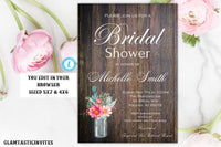 Spring Bridal Shower Invitation Template, Rustic Invitation, Editable,Printable, Shower Template, Bridal Shower Invitation, INSTANT DOWNLOAD