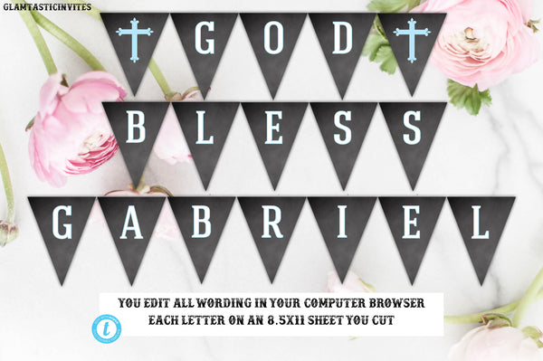 Communion Banner Template, Welcome Banner, God Bless Banner Template, Baptism, Dedication, First Communion, Christening, Template, Editable