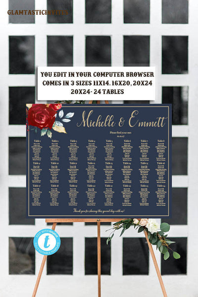 Marsala Navy Blue Gold Wedding Seating Chart Template, Blue and Gold Wedding Seating Template, Editable, Wedding Seating Chart Template