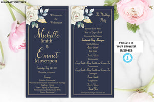 Ivory Navy Blue Gold Rose Wedding Program Template, Blue and Gold Wedding Program Template, Editable, Tea Length Wedding Program, Editable
