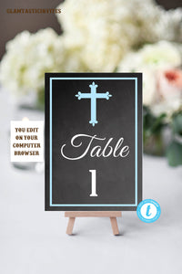 Table Number Template, Baptism Table Numbers, Blue and Grey Table Number, Template, You Edit, Religious Table Number, Cross, Editable, DIY