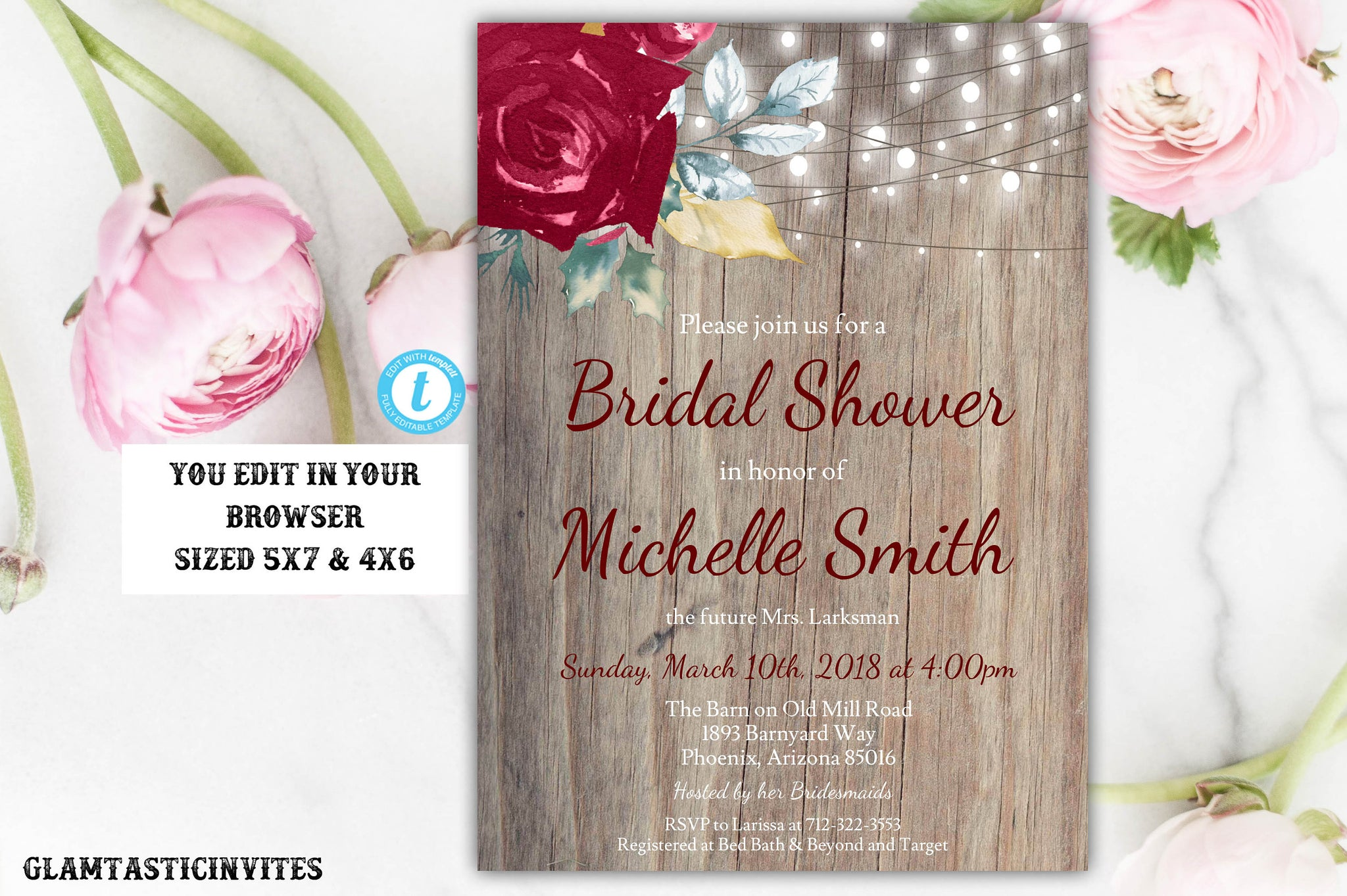 Marsala Burgundy Rustic Boho Country Vintage Printable Editable You Edit DIY Instant Download Online Cheap Bridal Shower Invitation Template