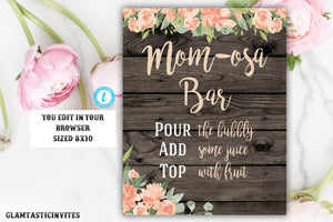 Mom-Osa Bar Sign, Mimosa Bar Sign, Mom-osa Template, Instant Download, Editable, Mom-osa, Mimosa, Rustic Mom-osa Sign Template, Printable