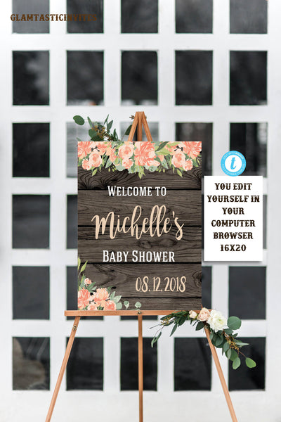 Floral Rustic Peach Baby Shower Welcome Sign Template, Rustic Welcome Sign, Welcome Sign Template, Baby Shower, Instant Download, Editable