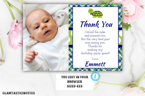 Turtle Birthday Thank You Template, Thank You Template, Turtle Template, You Edit, Printable, Template, Turtle, Boy, Thank You Card, DIY