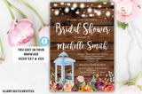 Rustic Fall Autumn Lantern Bridal Shower Invitation Template, Instant Download,Editable,Printable, Bridal Shower Template, DIY Bridal Invite