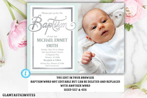 Baptism Invitation Boy, Baptism Invitation Printable, Boy Baptism Invitation, Printable Baptism Invitation, Template, INSTANT DOWNLOAD, DIY