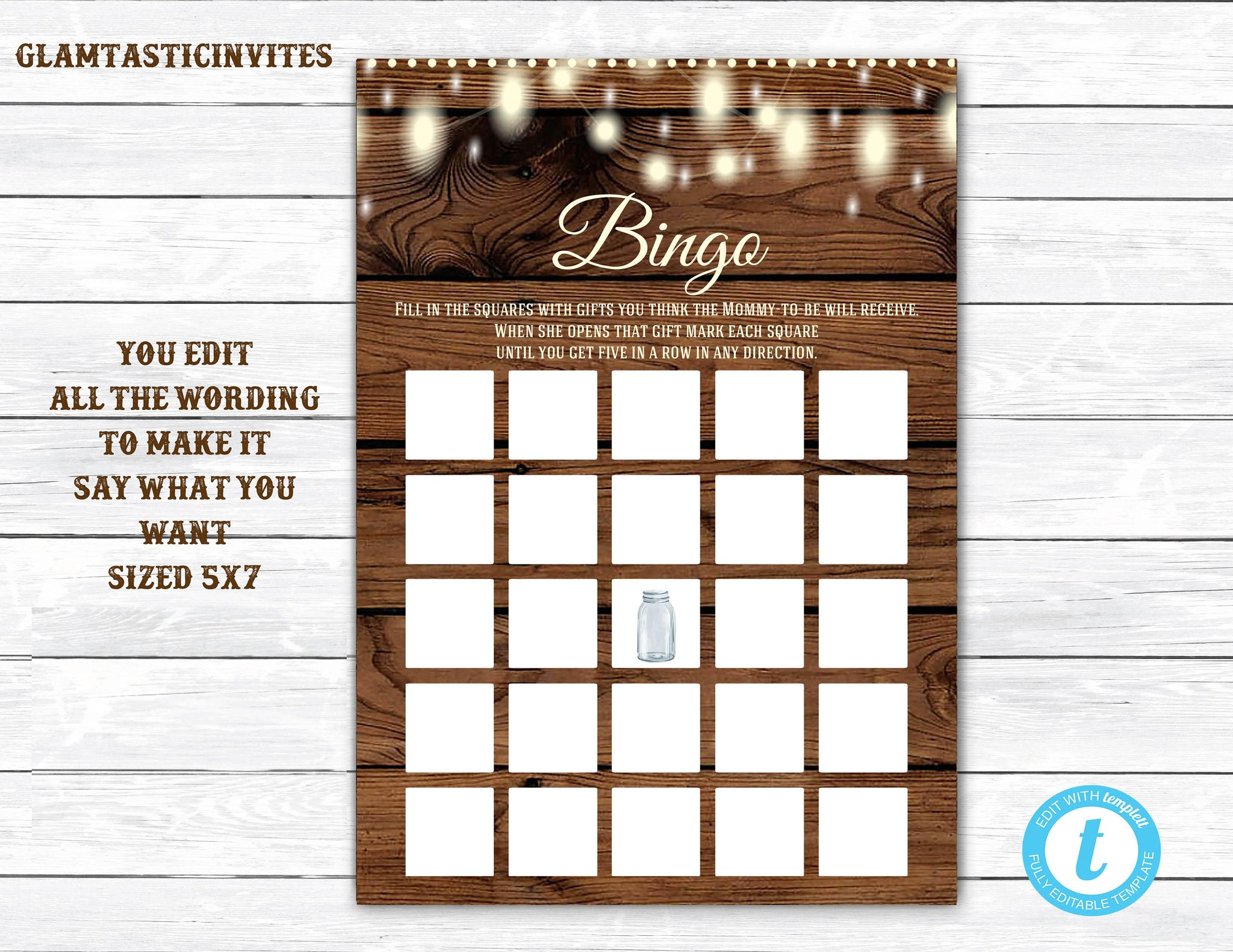 Bingo, Baby Shower BINGO, Rustic Bingo, Rustic Baby Shower, Baby Shower Bingo, Baby Shower Game, Bingo Template, Instant Download, Template