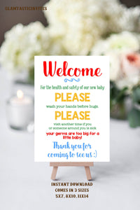 Wash Your Hands Sign, New Baby Sign, Please wash your hands, Instant Download, You Print, Wash Hands Sign, Front Door Sign
