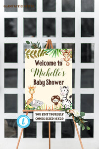 Jungle Baby Shower Welcome Sign Template, Baby Shower Sign, Baby Shower Welcome Sign, Giraffe, Elephant, Monkey, Zebra, Safari, Jungle, DIY