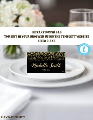 Black and Gold Place Card Template, Black and Gold Escort Card Template, Instant Download, Printable, Editable, Black and Gold Wedding, DIY
