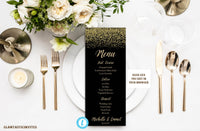 Wedding Menu Card Template, Black and Gold Menu Template, Rack Card Template, DIY Wedding, Instant Download, Black, Gold, Printable,Editable