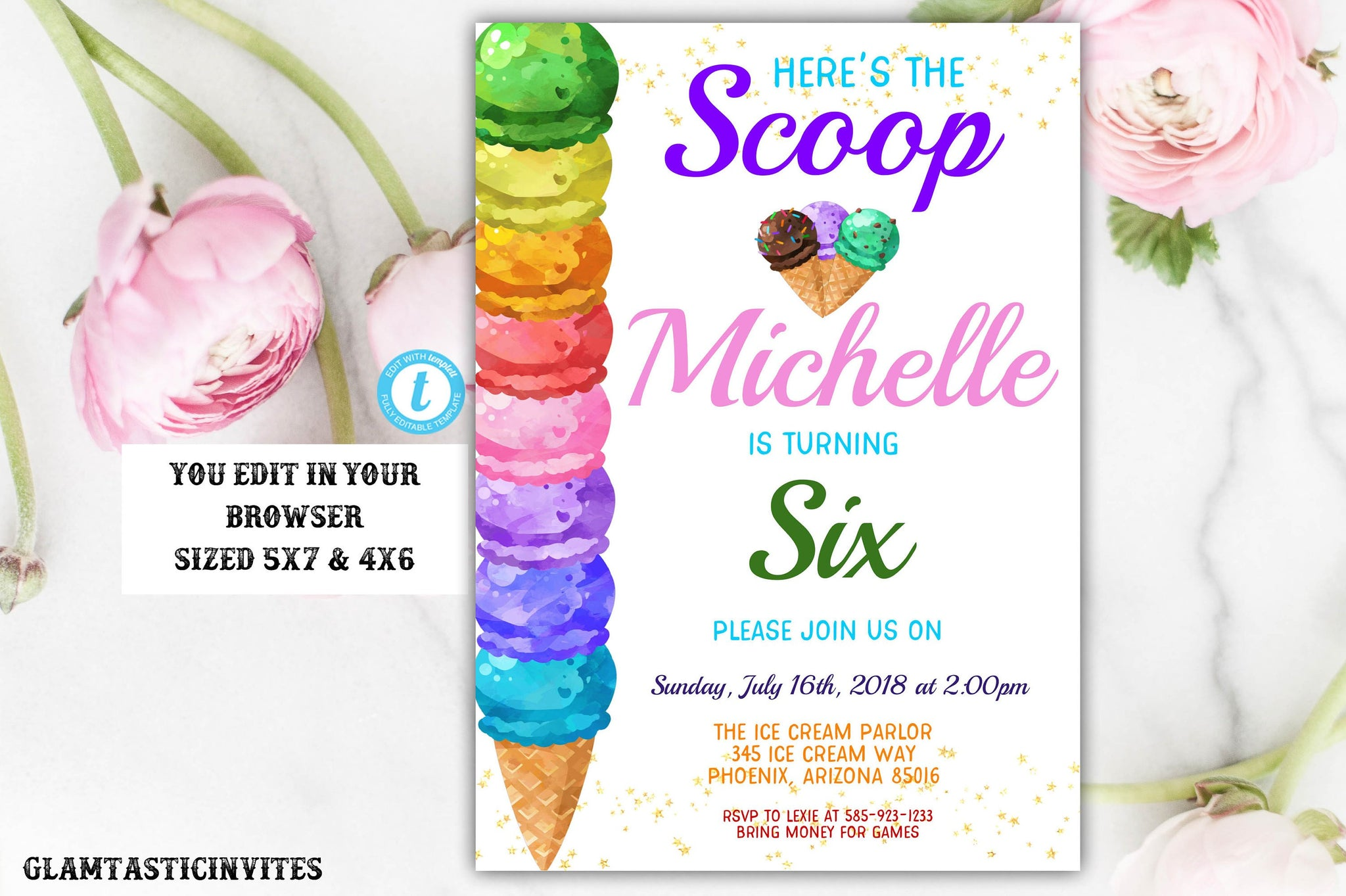 Ice Cream Birthday Party Invitation Template, Ice Cream Template, Instant Download, Editable, Summer Birthday Invitation, Ice Cream, DIY