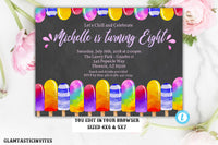 Glitter Popsicle Birthday Invitation Template, Instant Download, Editable, Popsicle, Popsicle Birthday Party, Popsicle Template,Summer Party