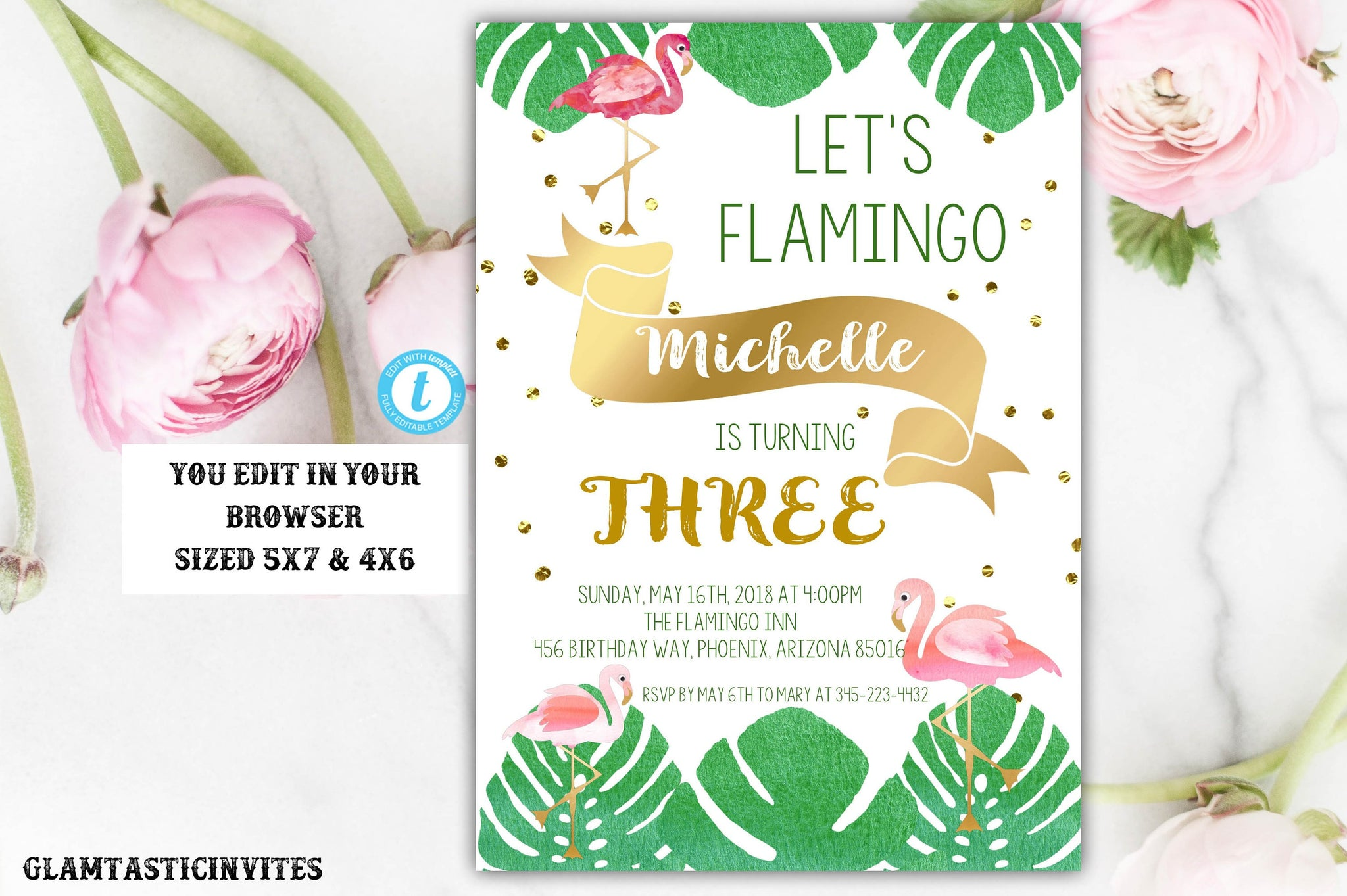 flamingo birthday invitation template instant download editable