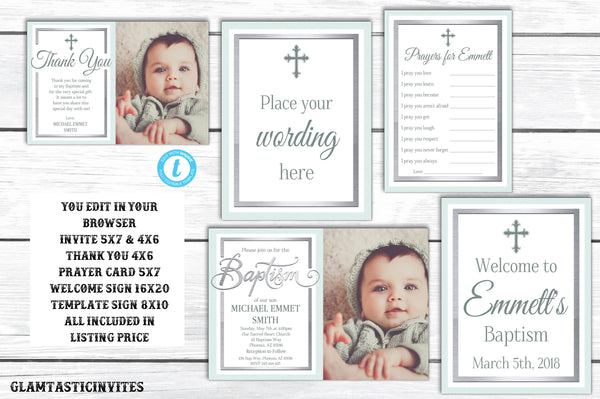 Baptism Template Package, Baptism Boy Invitation Template, Printable, Instant Download, Boy Baptism, Baptism Package, You Edit, Religious
